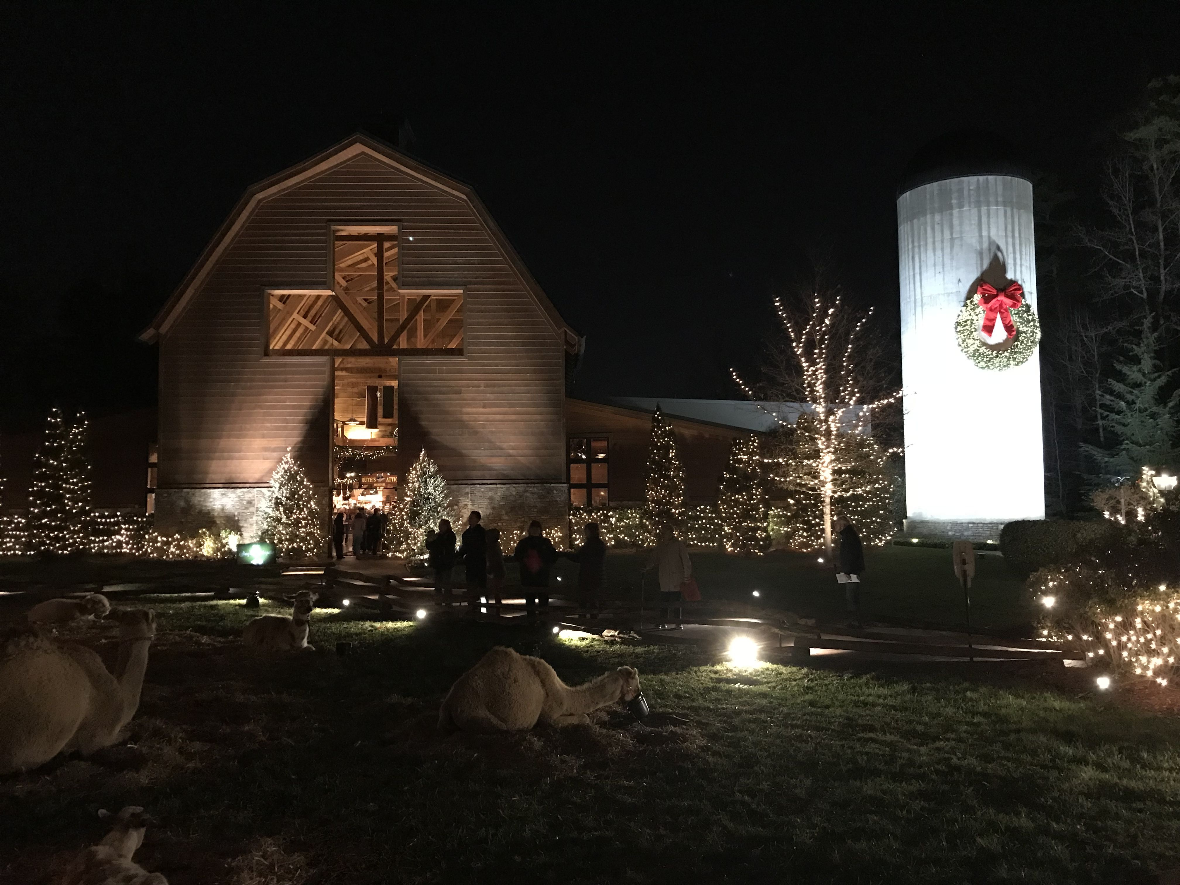 billy graham library at christmas charlotte nc live nativity barn with windows and wreath on silo shinewithjl barndoor barn visitnc christmas