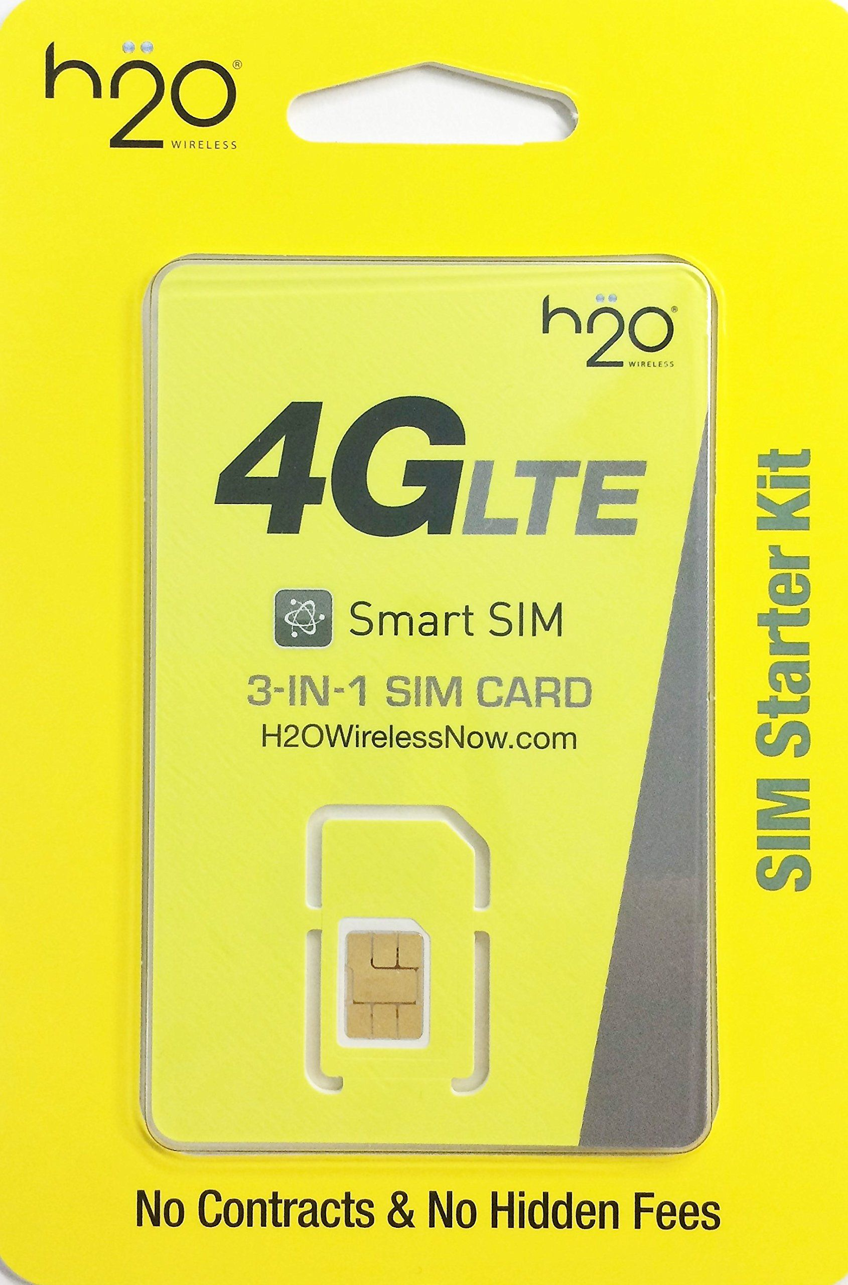 H2o sim card for h2o wireless retail packaging triple