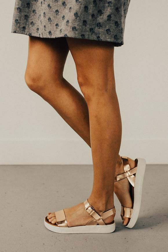 Rose gold white bottom sandals   ROOLEE
