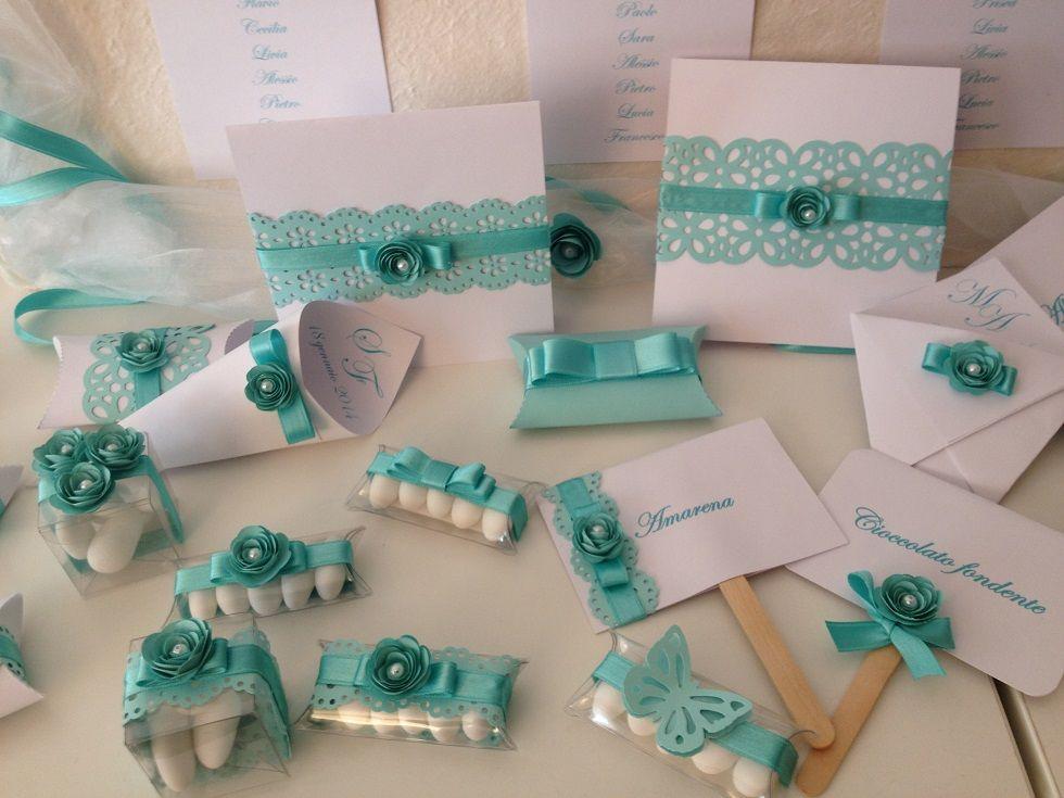 Partecipazioni Matrimonio Azzurro Tiffany : Partecipazioni matrimonio coni riso sacchettini