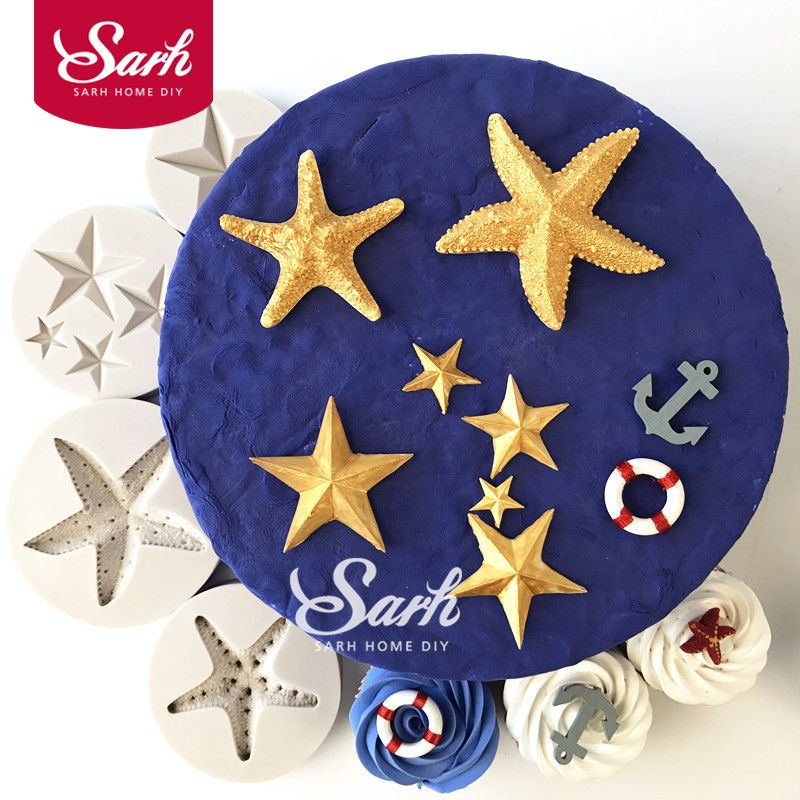 Sea Starfish Five Pointed Star Collection Fondant Cake Molds For The Kitchen Baking Sugarcraft Decorations And Tool Kitc Kitchen Baking Cake Mold Sea Starfish