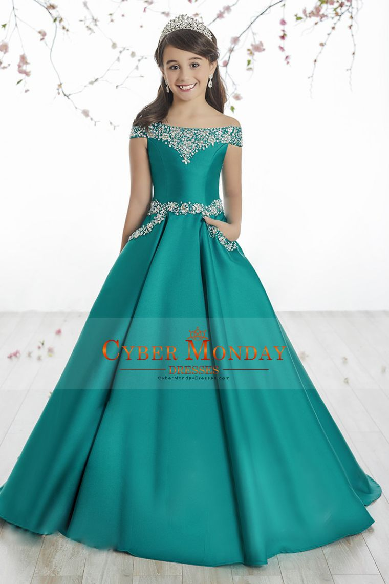 2017 Satin Boat Neck Flower Girl Dresses A Line With Beading Sweep ...