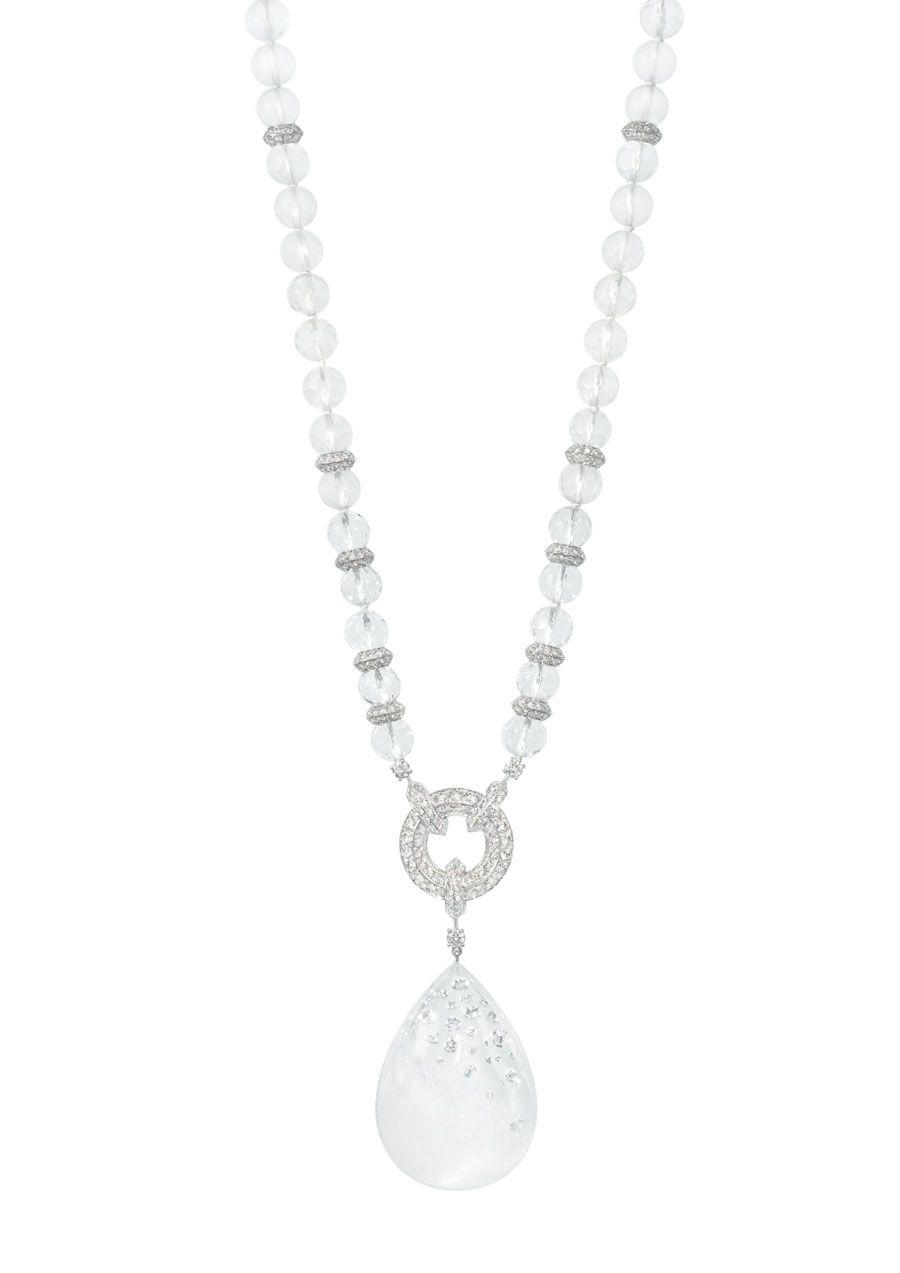 Boucheron Hotel de la Lumière Goutte de Lumiere white gold necklace set with rock crystal and white diamonds.