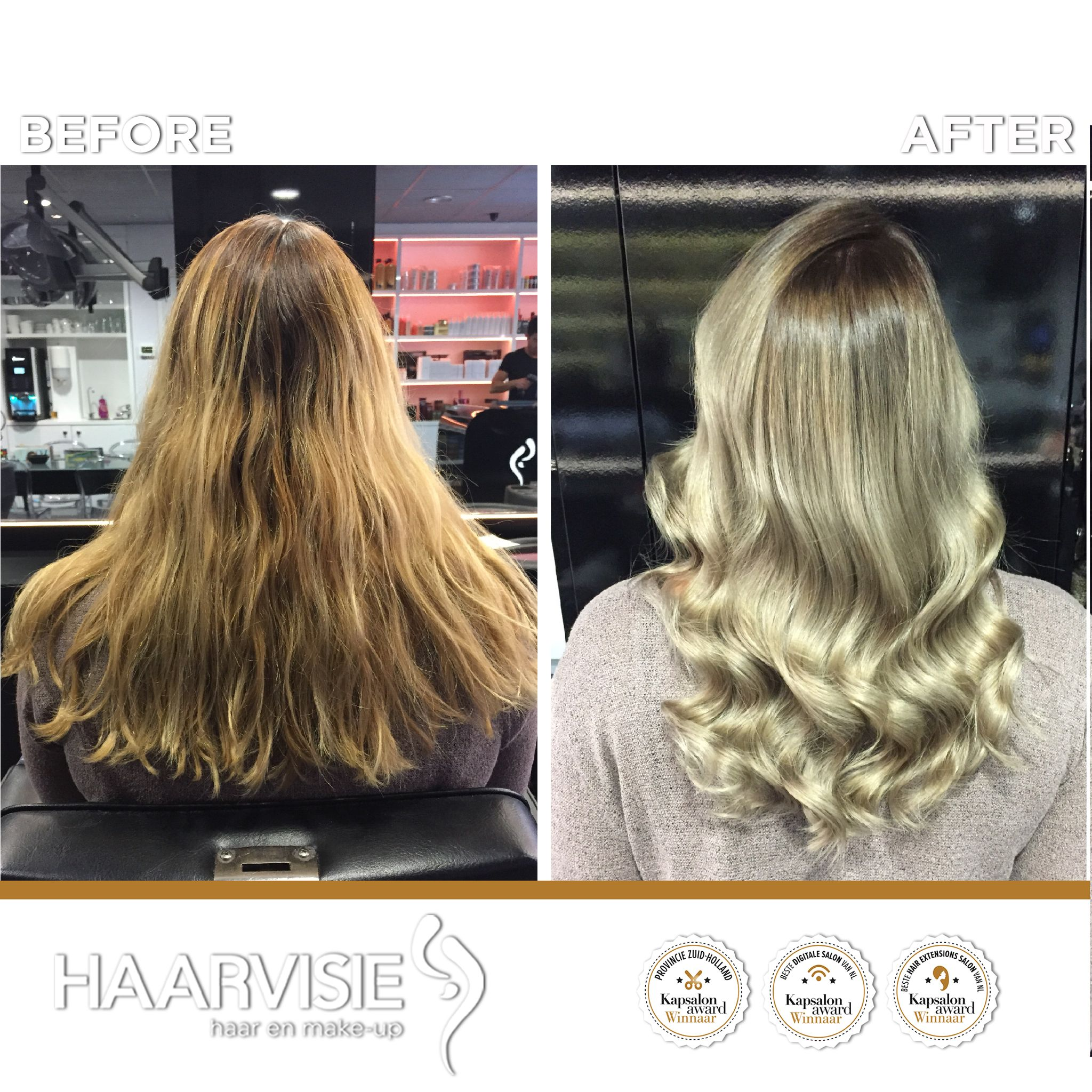 Cool blonde balayage hair Dark roots and fresh blond ends Colored
