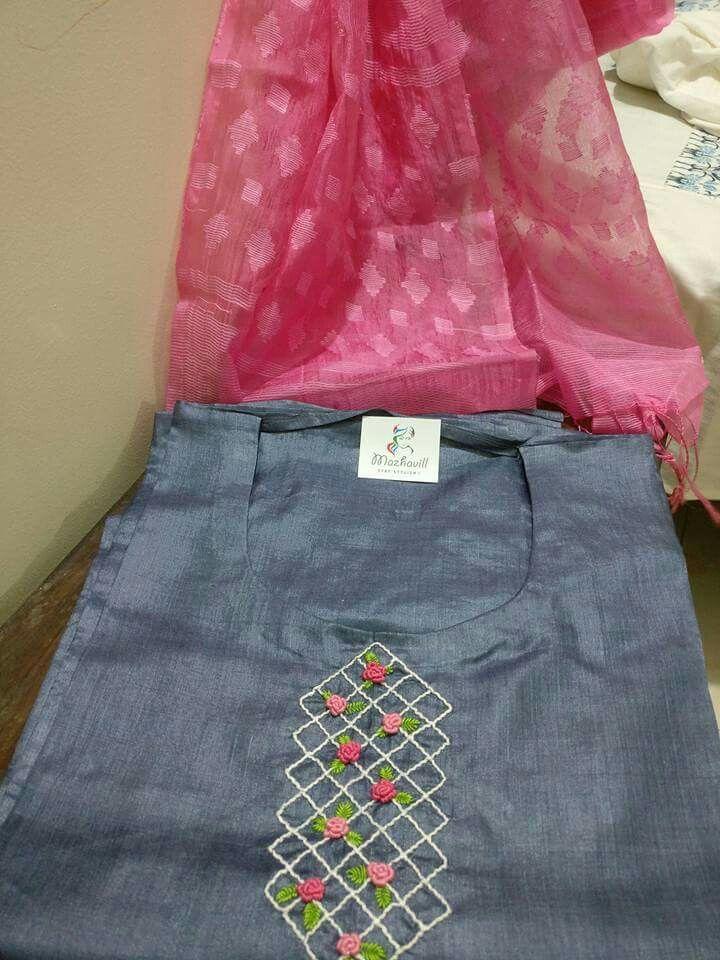 Simple Yet Lovely Md Khorshad Embroidery Kurti Kurti Patterns