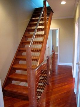 Open Riser Stairs With Metal And Wood Railing Modern