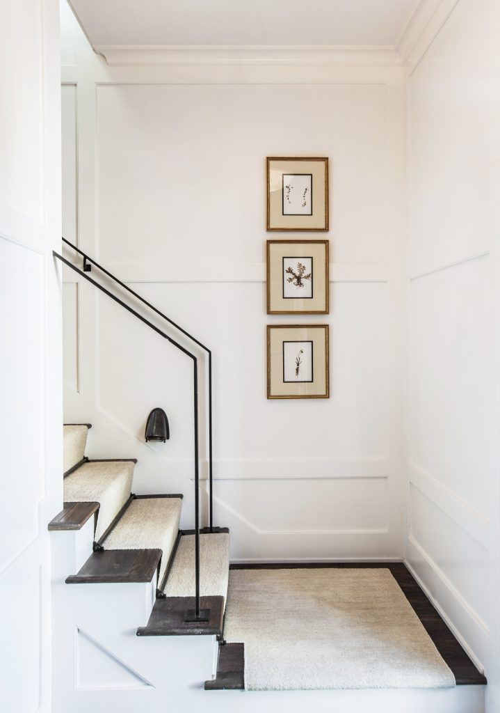 Marie Flanigan Interiors   Small Space Solutions   Benjamin Moore Cloud  White   Minimalist Steel Handrail