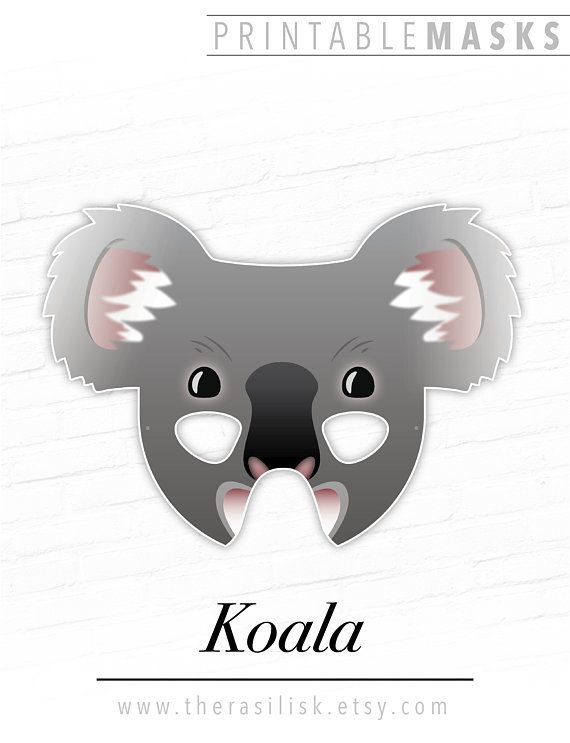 Koala Printable Australian Animal Mask Bear Cute Masks For Kids Birthday Party Halloween