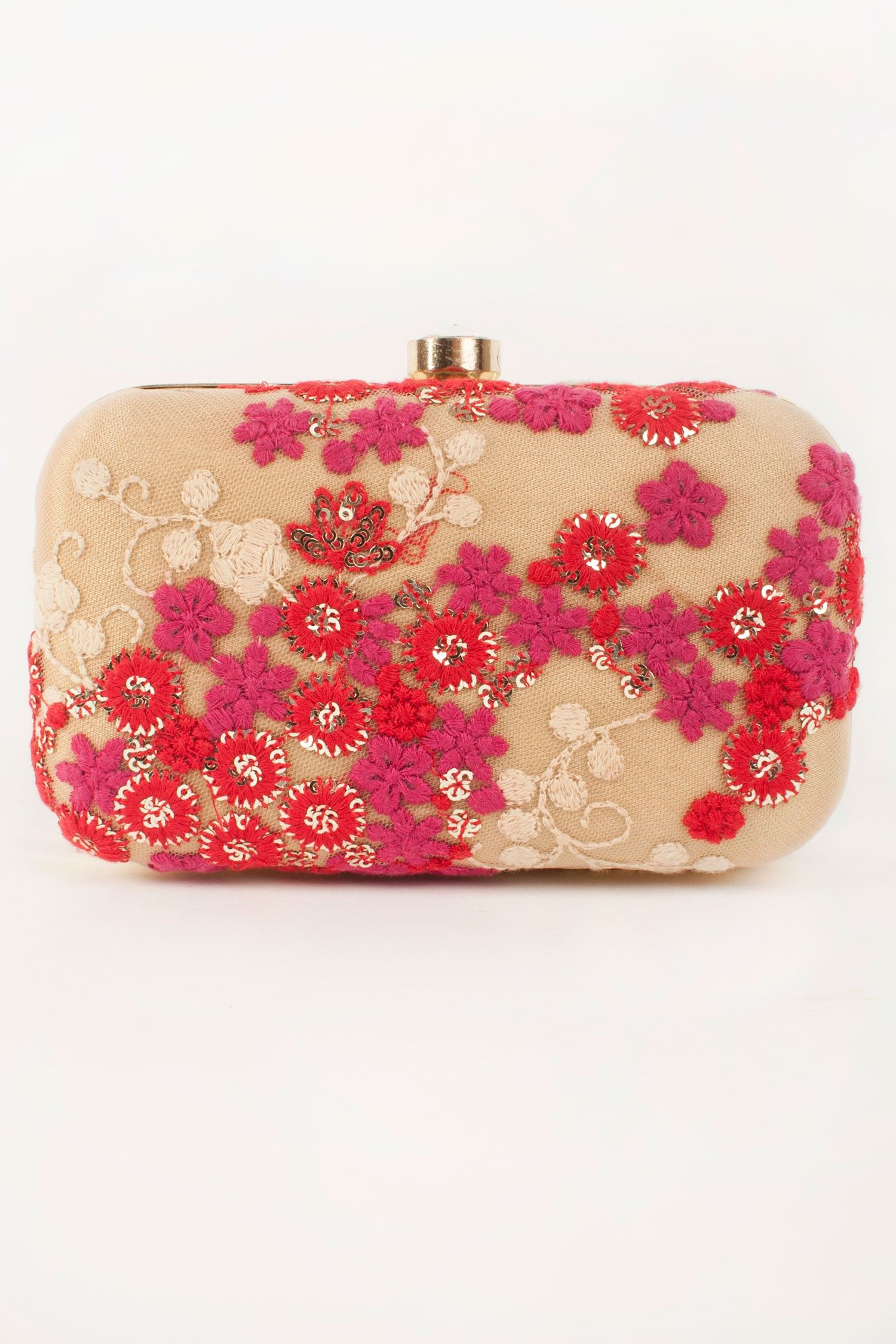 Gold Net Clutch With Floral Embroidery By Twink By Rhea Shop Now