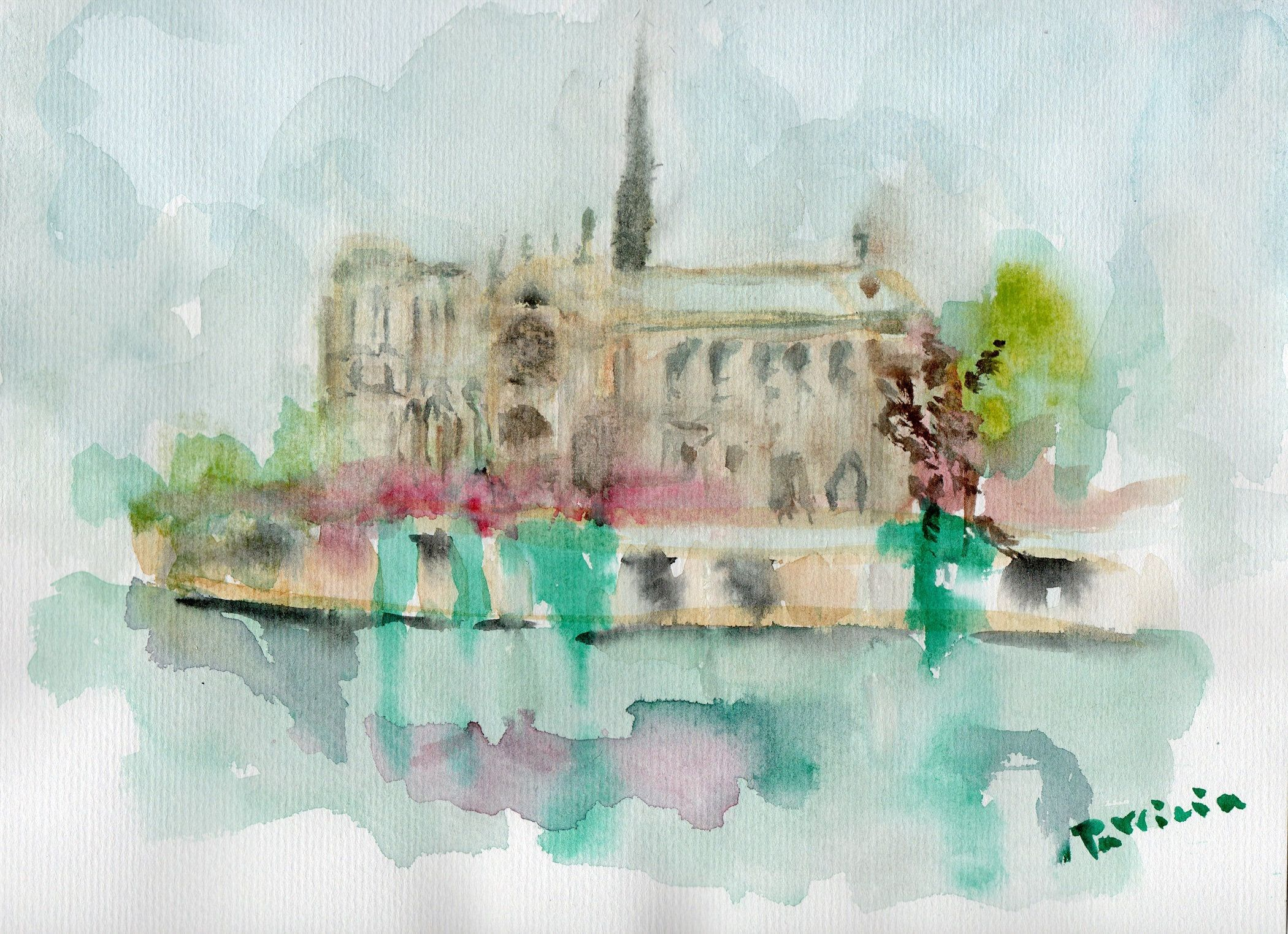 Wedding Gift Notre Dame De Paris Watercolor Painting Original