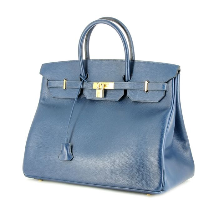 Hermes sac Birkin 40 cm en cuir bleu