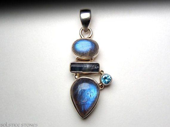 Blue Indicolite Tourmaline, Labradorite, & Blue Topaz Pendant Set in Sterling Silver // Thir Eye Chakra Stones, Crystal Healing Jewellery