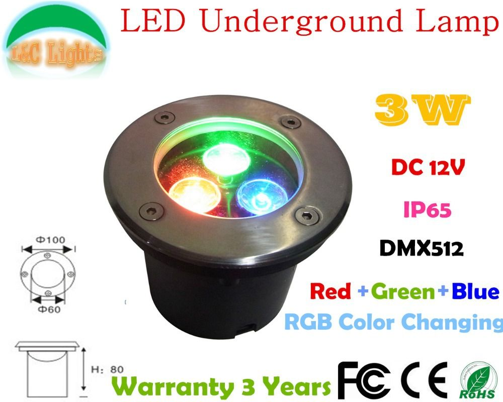 3w Led Underground Lamp Dc 12v Dmx512 Landscape Lighting Ip65 Outdoor Lighting 3 Years Warranty Color Changing Undergro Outdoor Lighting Landscape Lighting Led