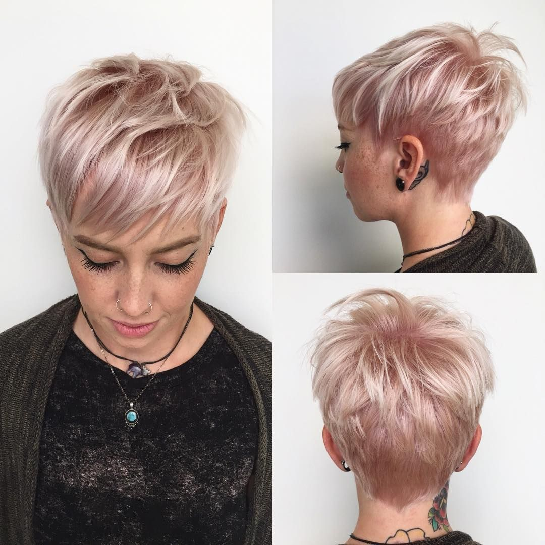 Messy Platinum Textured Pixie with Fringe Bangs an