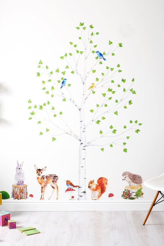 nursery forest decor, woodland decor set, forest wall decal, nursery