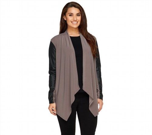 28.68$  Watch here - http://viapu.justgood.pw/vig/item.php?t=akh5ch49105 - Joan Rivers Chic Luxe Knit Draped Cardigan Faux Leather Slv Taupe L NEW A258259