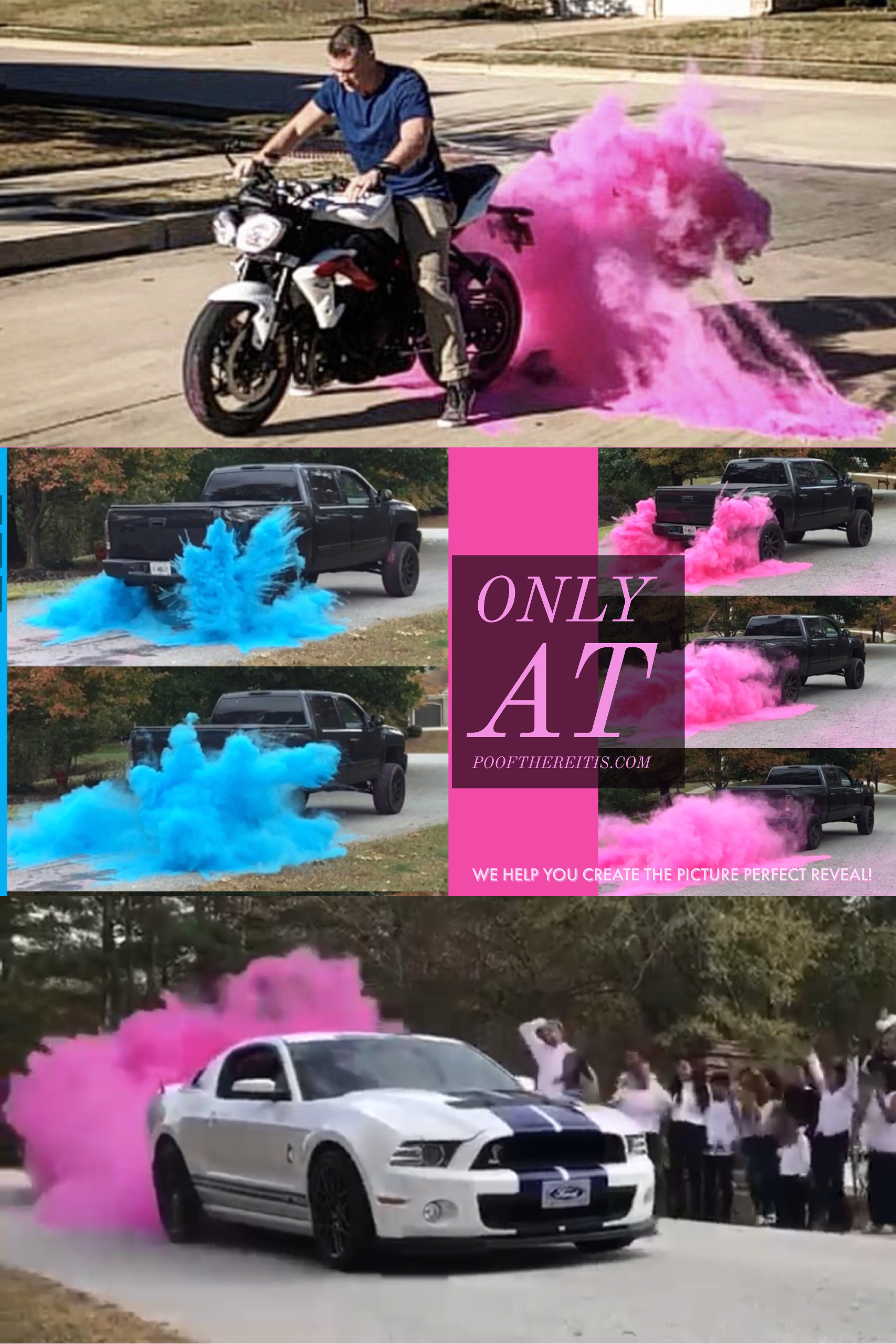 Gender Reveal Burnout Car Truck Motorcycle Pink Blue Gender Reveal Smoke Idea