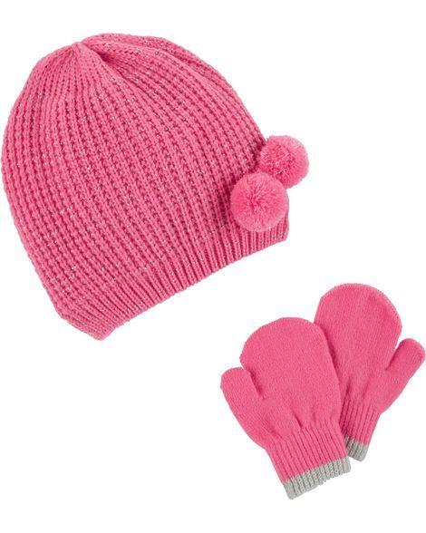 90d27fc08 Sparkle Pom Pom Hat & Mitten Set   Products   Hats, Mittens, Pom pom hat