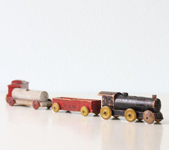 Vintage Toy Train Strombecker Wooden Train Set Of 4