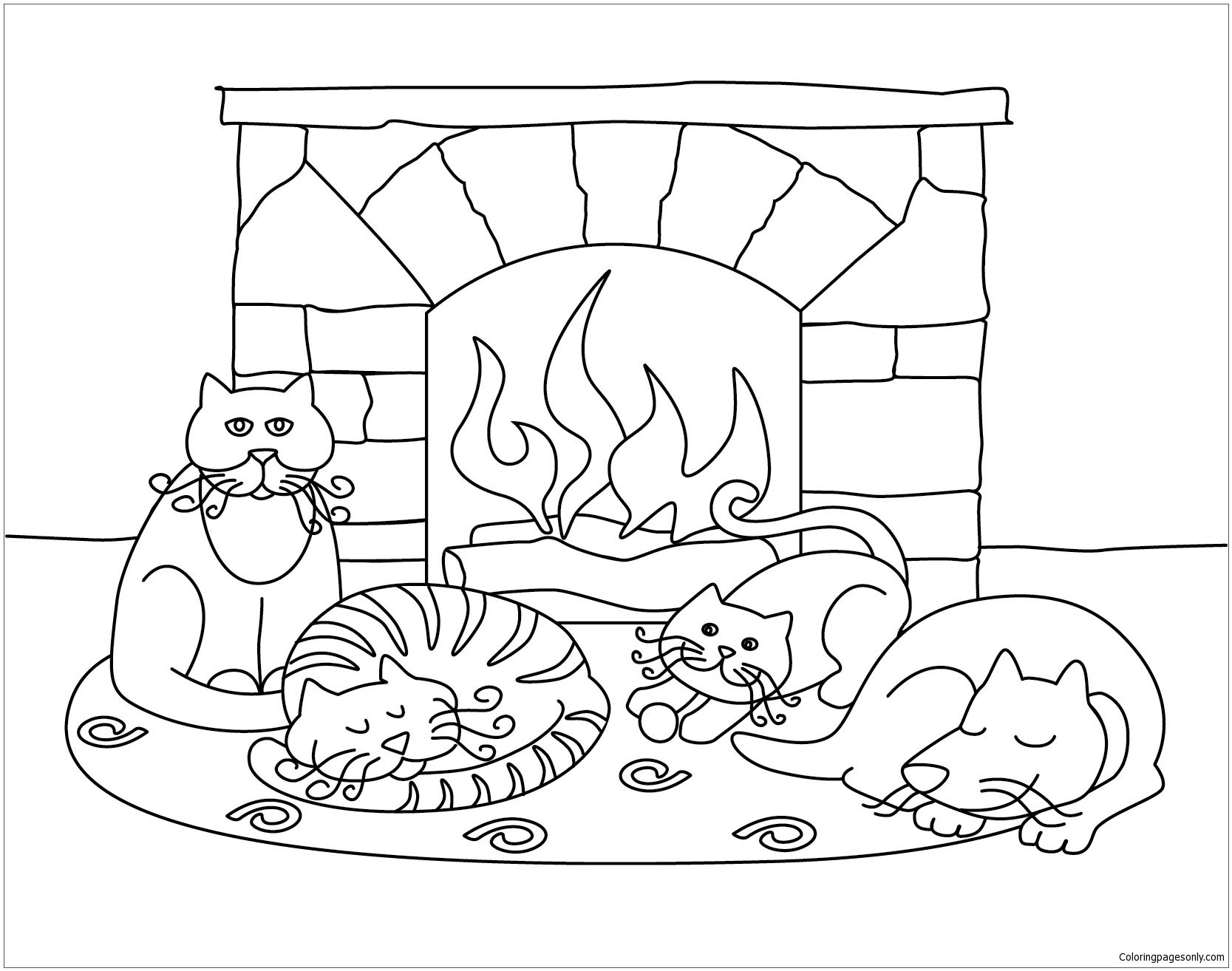 Winter Scenes With Cute Animals Coloring Page | Winter Coloring ...