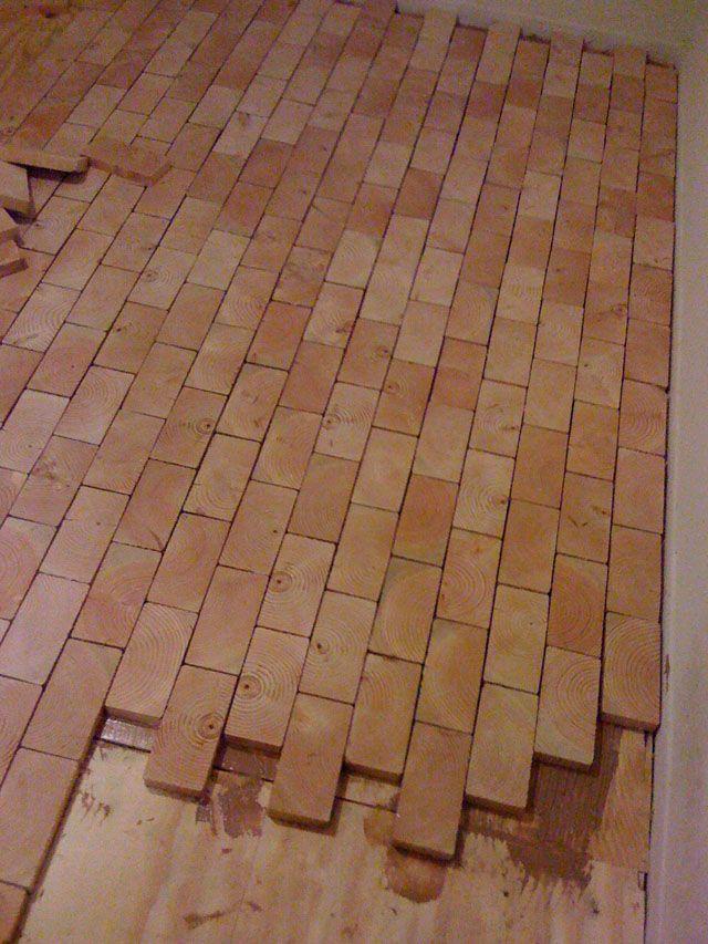 Diy End Grain Wood Floor Vloeren Keukenvloer Pallet Meubilair