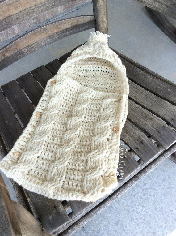 Crochet newborn cocoon, newborn swaddle, infant swaddle with hood ...