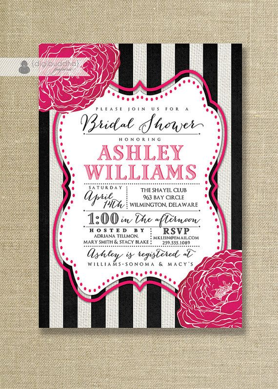 cc87f469440 fuchsia hot pink blooms with black   white stripe bridal shower invitation  available on digibuddha.com