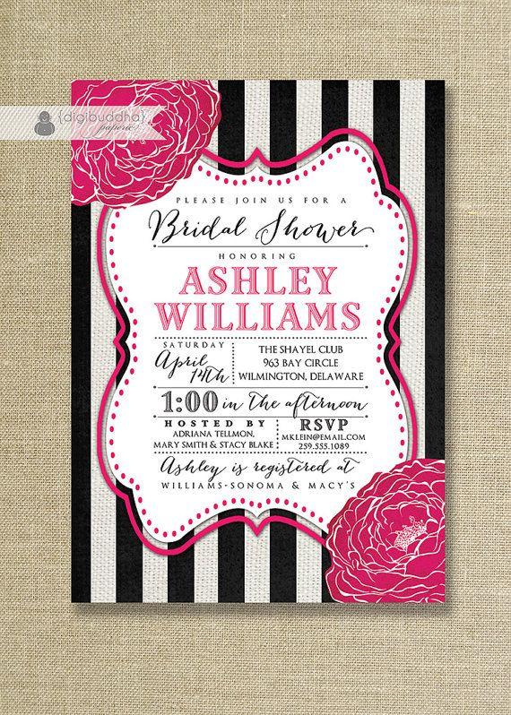 fuchsia black & white bridal shower invitation striped hot pink, Wedding invitations