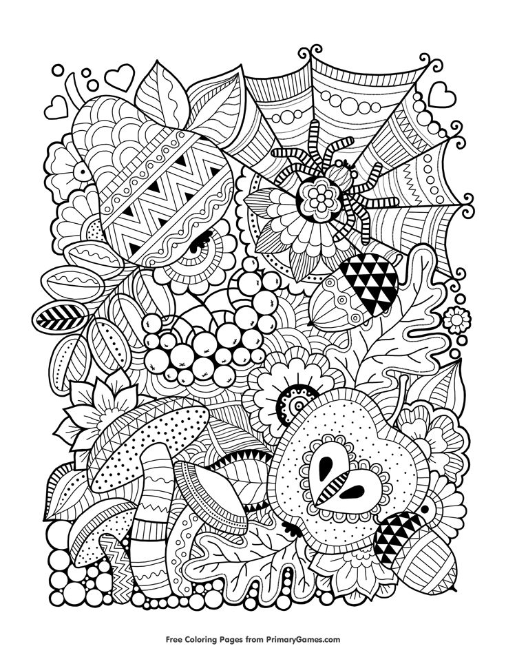 free autumn coloring pages for adults | Fall Coloring Pages eBook: Autumn Zentangle | Fall | Fall ...