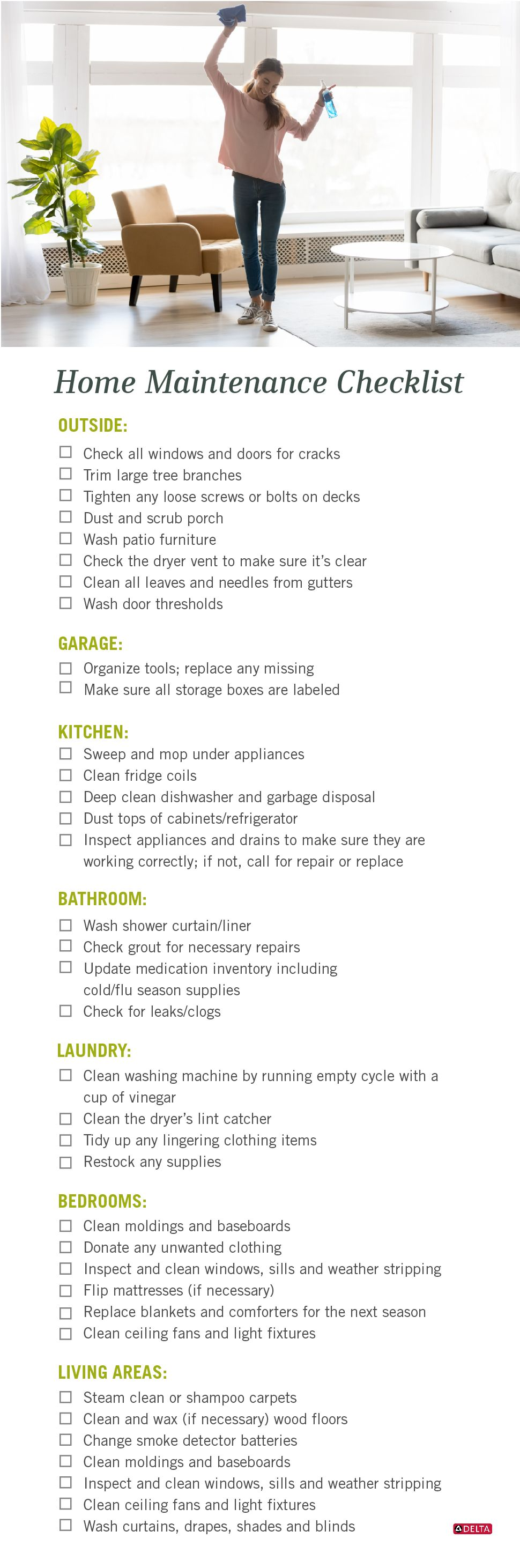 Home Maintenance Checklist - Printable | Delta Faucet