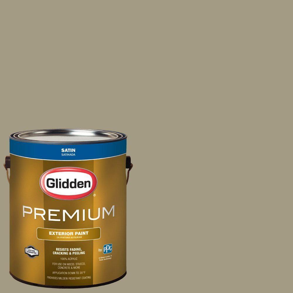 Glidden Premium 1-gal. #HDGWN64 Khaki Green Satin Latex Exterior Paint