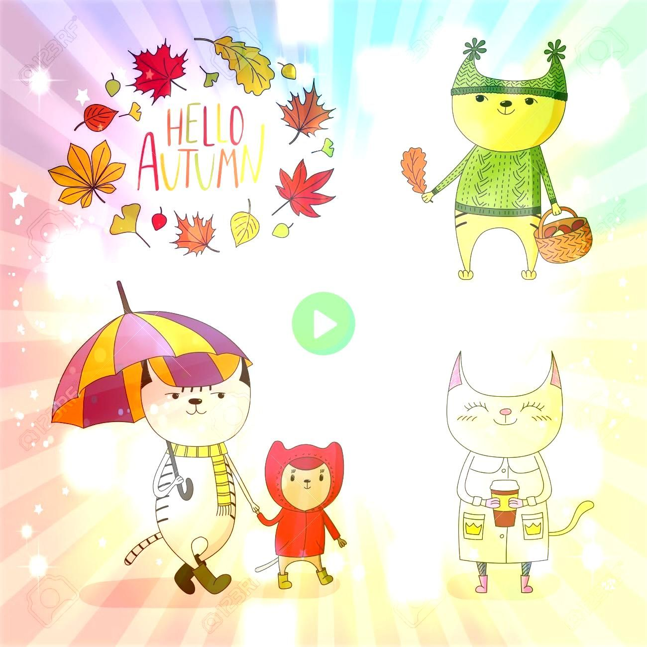 drawn vector illustration of cute cats in rain coat with umbrella mushrooms paper cup with wreath of leaves and text Hello Autumn Isolated objects on white background Des...