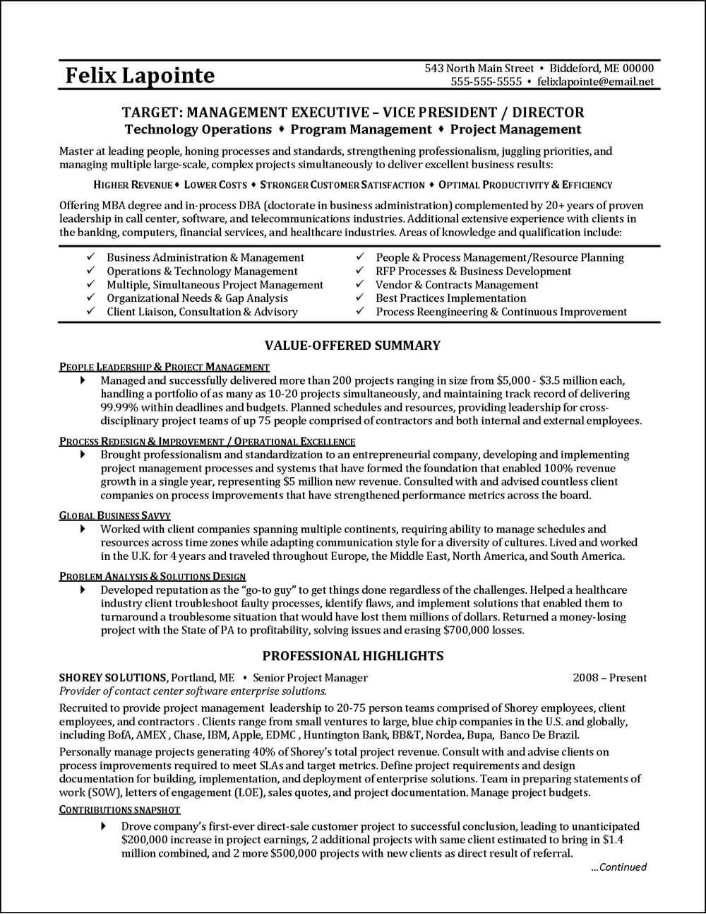 this c level executive resume was professionally written for a