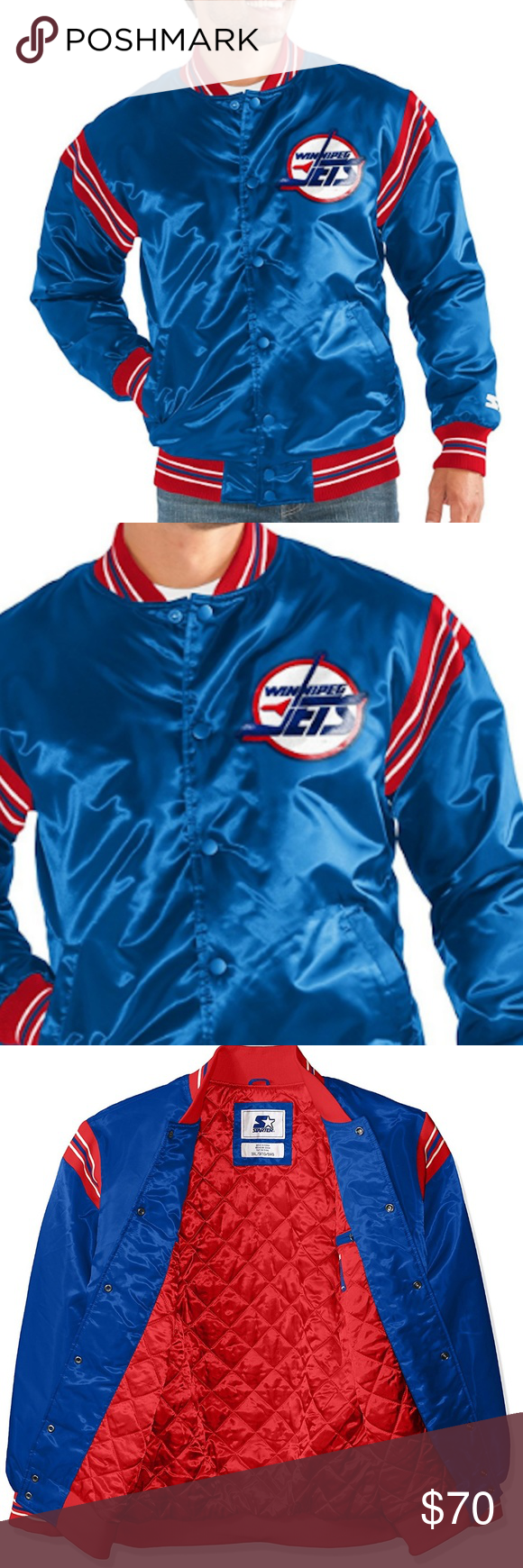 Winnipeg Jets STARTER JACKET NHL Throwback Men Winnipeg Jets STARTER Retro  Satin Snap Jacket c22012bc5