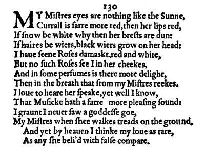 Resultat d'imatges de sonnet 130 shakespeare