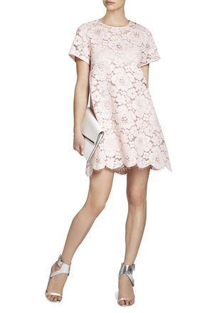 Blush lace shift dress
