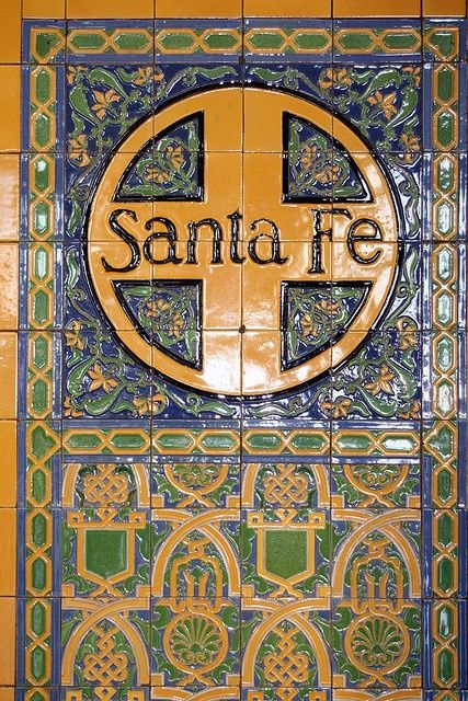 Santa Fe Railroad Station Tile Wall Mural Sign In Downtown