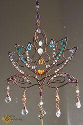 Super Sparkly Lotus Blossom Edelstein Suncatcher, Chakra Fenster hängen Drahtkunst, Home Patio d …