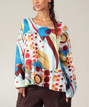 Loving this Aller Simplement White & Blue Abstract Boatneck Top on #zulily! #zulilyfinds