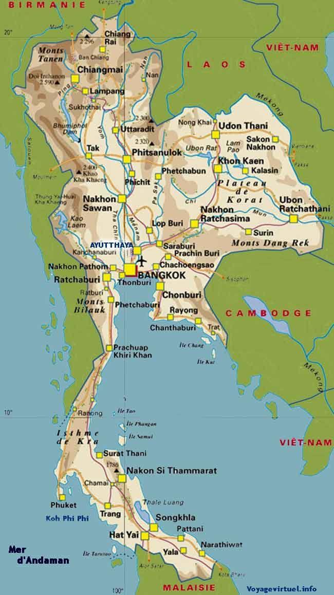 Islas De Tailandia Mapa.Un Mapa De Tailandia Donde Podremos Consultar Las Ciudades