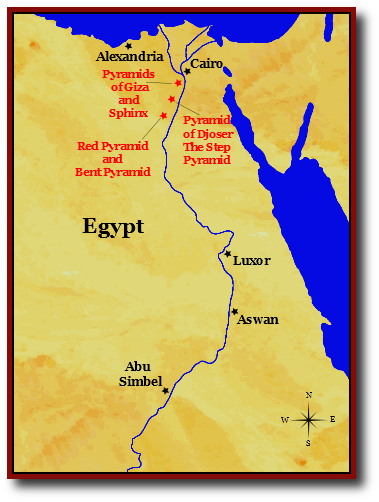 Pyramids In Egypt Map.Map Of Ancient Egypt Pyramids Of Giza And Saqqara Ancient Egypt