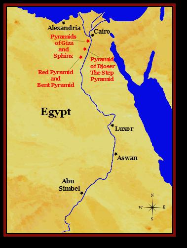 Map of Ancient Egypt Pyramids of Giza and Saqqara | Ancient Egypt