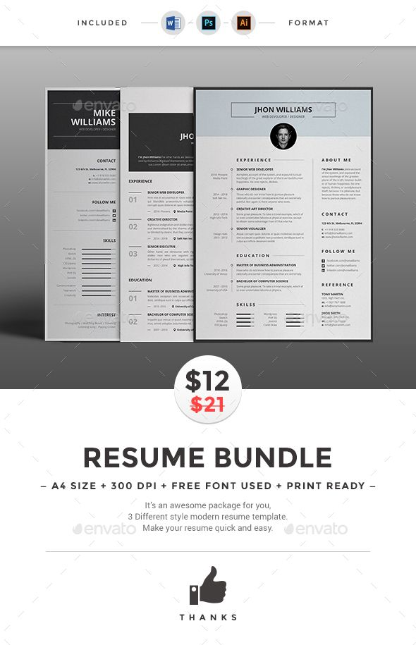 Resume Bundle Template, Ai illustrator and Resume cv - different resume templates