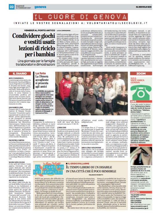 La casa Famiglia ospite del Camoscio d'Oro di Bargagli - Il Secolo XIX 21/02/2017