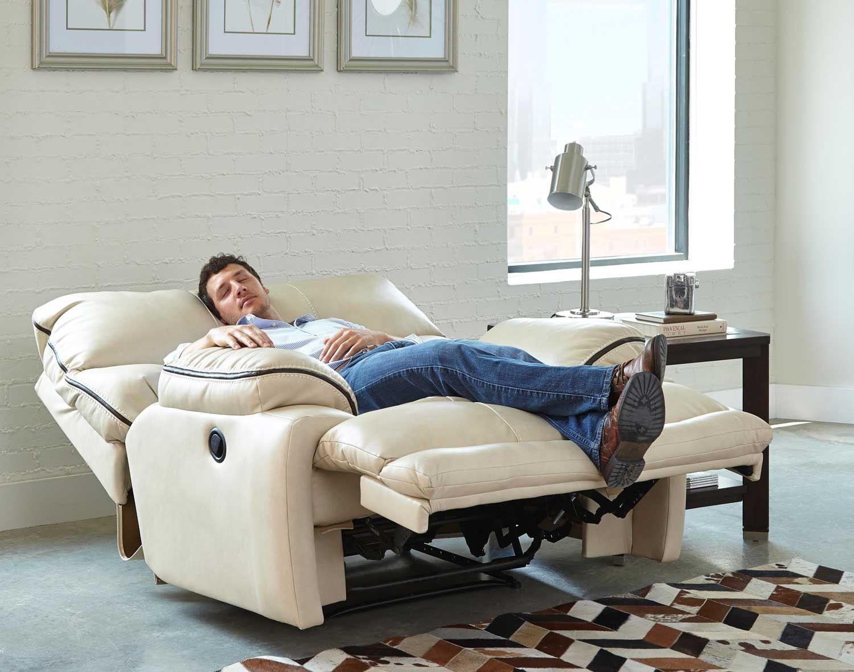 Catnapper larkin lay flat recliner buff leather dining