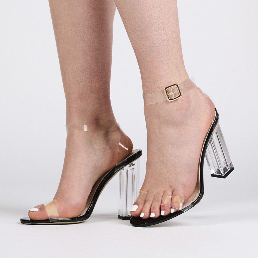 6d49e26671a Alia Strappy Perspex High Heels in Clear Black Patent