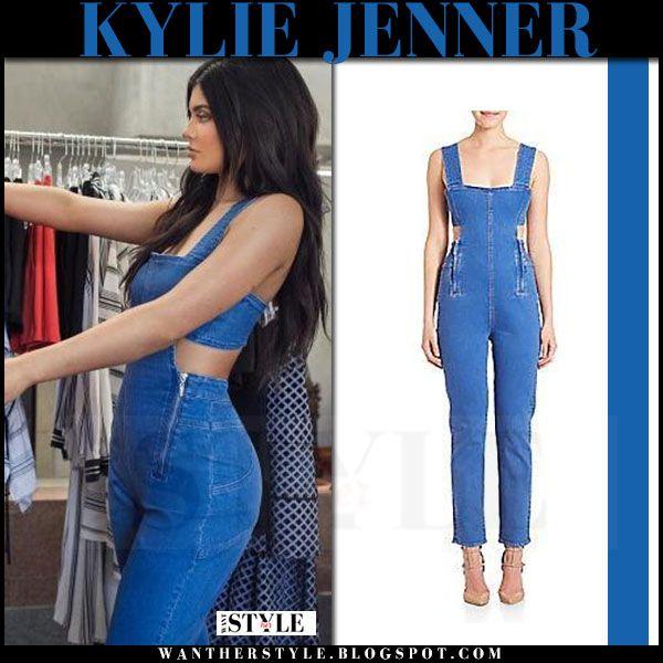 2ec3579369fd Kylie Jenner in denim cutout jumpsuit