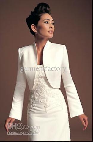 Modes Ivory Satin Jacket Wraps Long Sleeve Evening Dress Bolero
