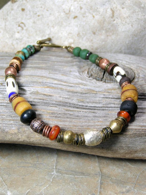 Mens Beaded Bracelet African Trade Beads Mans Tribal Jewelry