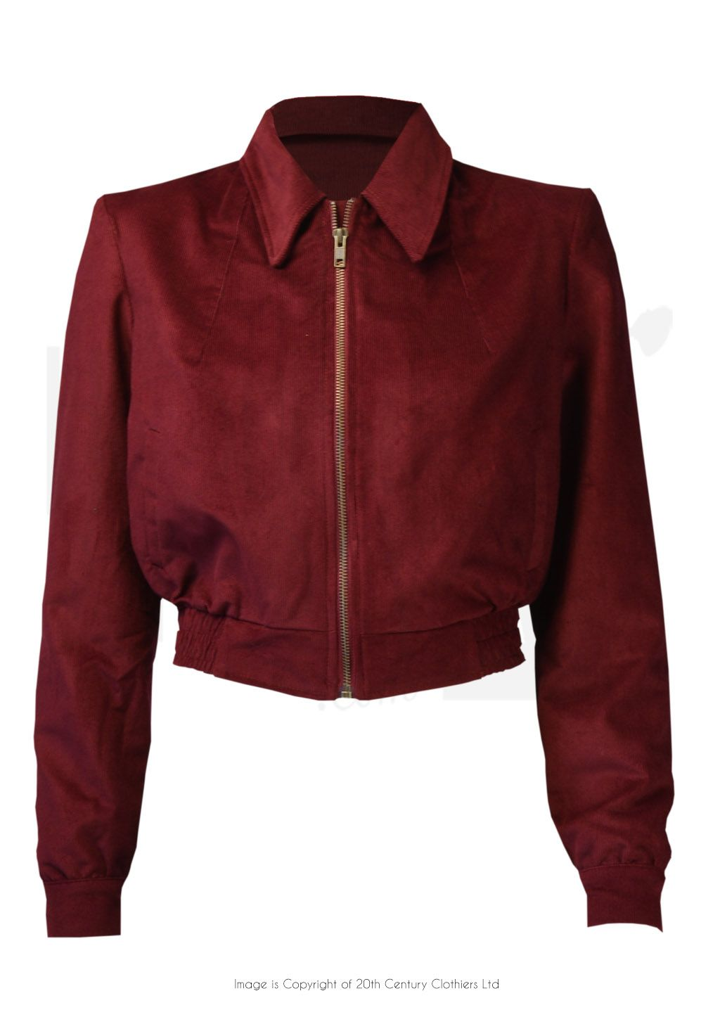 21fe082ad7aa 1940s Style Americana Zip-through Jacket in Wine Red Needlecord